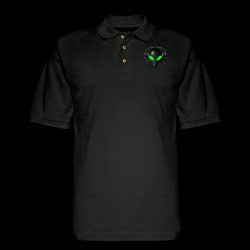 Alien Bug Face Green Eyes in DJ Headphones - Men's Pique Polo Shirt