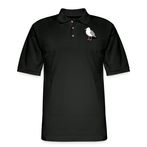 sea gull seagull harbour bird beach sailing - Men's Pique Polo Shirt