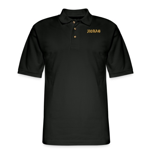 BLACK - HOBAG LETTERING - Men's Pique Polo Shirt