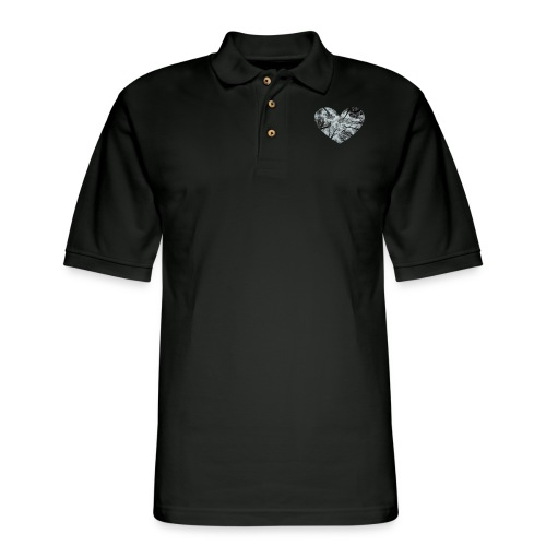 Heart Abstract Black and White Trees - Men's Pique Polo Shirt