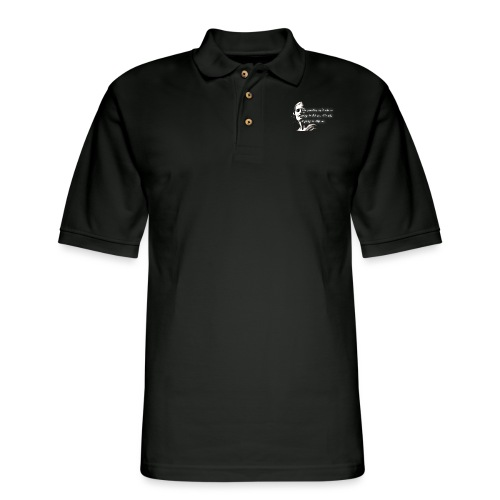 Stop me Ayn Rand on black background - Men's Pique Polo Shirt