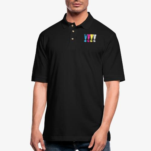 Distressed CMYK(W) Graphic Exclamation Points - Men's Pique Polo Shirt
