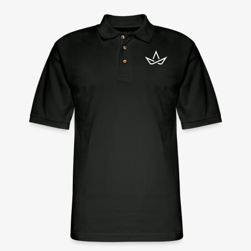 WHITE LOGO - Men's Pique Polo Shirt