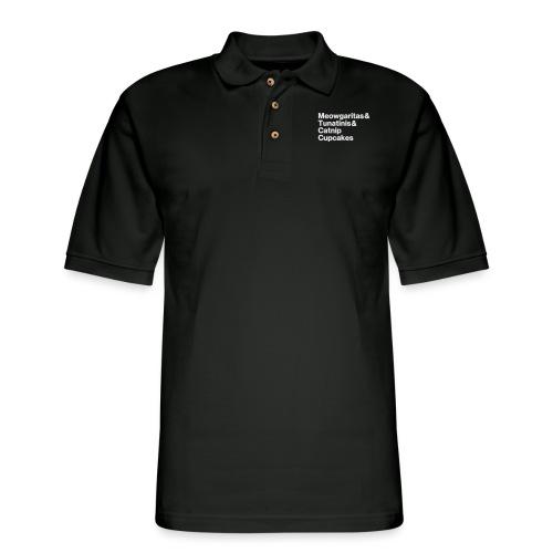 meowgaritas & tunatinis & catnip cupcakes - Men's Pique Polo Shirt