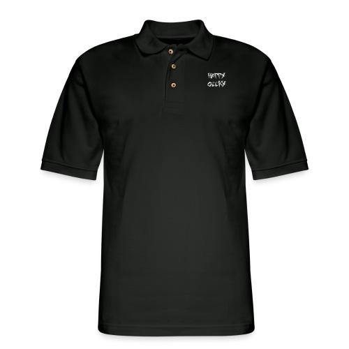 Happy_Geeky_-_Logo_White - Men's Pique Polo Shirt