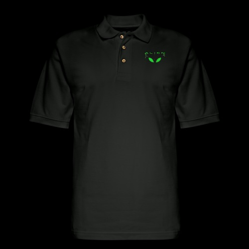 Alien Dribble with ET eyes - Green - Men's Pique Polo Shirt