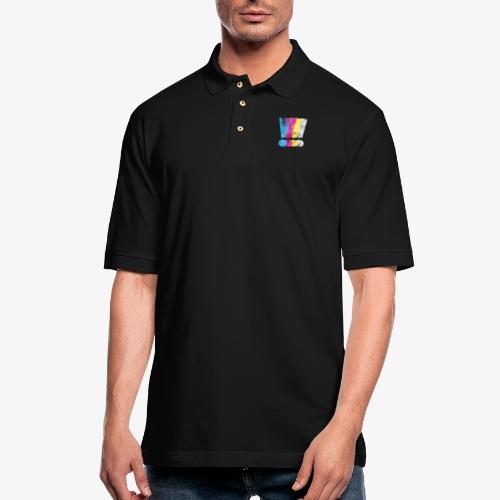 Large Distressed CMYK Exclamation Points - Men's Pique Polo Shirt