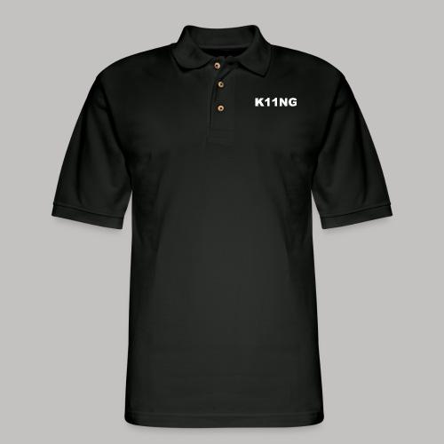LOGO WHITE - Men's Pique Polo Shirt