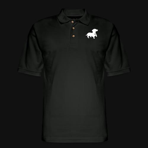 Dachshund silhouette white - Men's Pique Polo Shirt