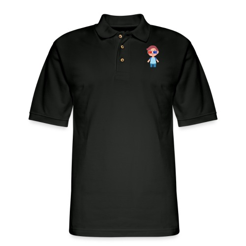 Boy with eye 3D glasses - Men's Pique Polo Shirt