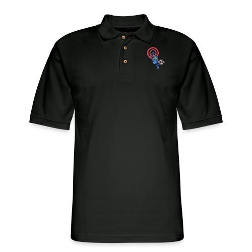 PKE Meter White text - Men's Pique Polo Shirt
