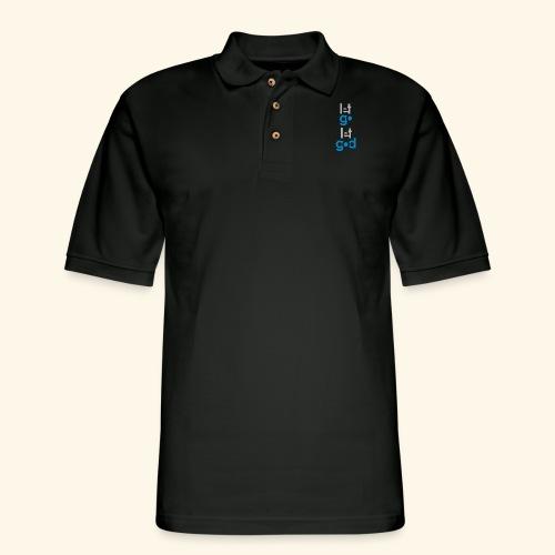 LET GO LET GOD GREY/BLUE #7 - Men's Pique Polo Shirt