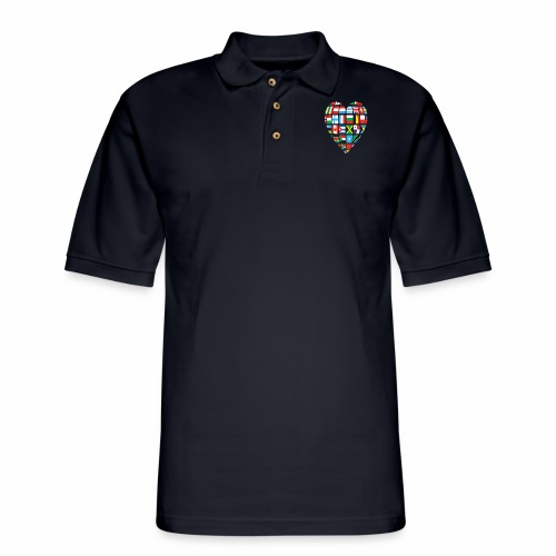 Cooperation-Countries Flags/ Global Love - Men's Pique Polo Shirt
