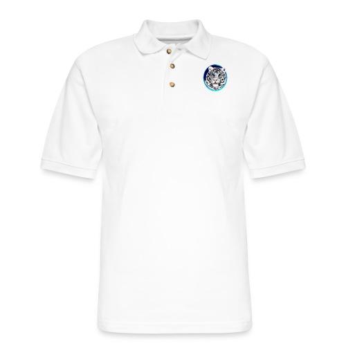 Framed White Tiger Face - Men's Pique Polo Shirt