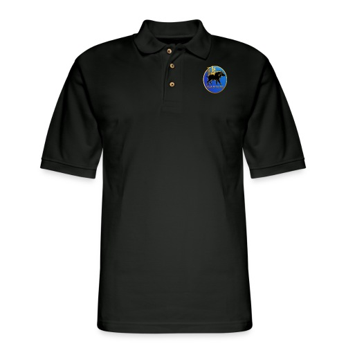 Year Of The Pig-Black Boar Symbol Oval - Men's Pique Polo Shirt