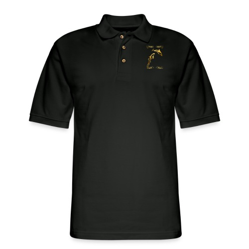 Two Gold Dolphins with frilly frames - Men's Pique Polo Shirt