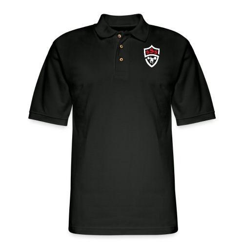 Logo Only White and Red - Men's Pique Polo Shirt