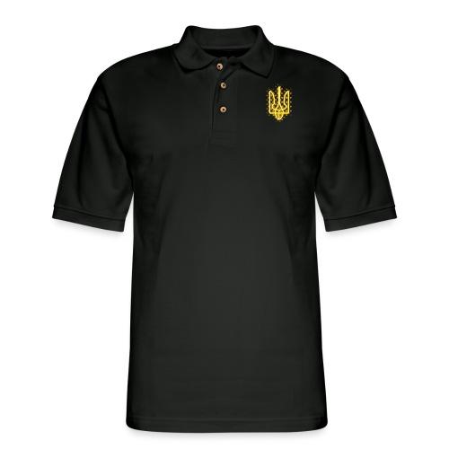Yellow neon Tryzub - Men's Pique Polo Shirt
