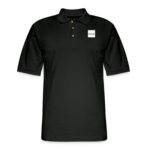 Plain White with Logo - Men's Pique Polo Shirt