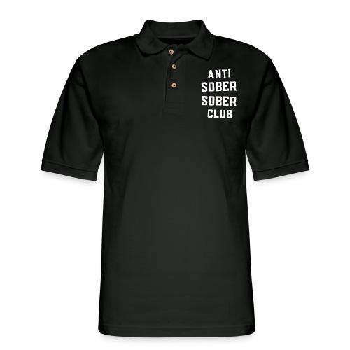 ANTI SOBER SOBER CLUB (Front & Back) - Men's Pique Polo Shirt