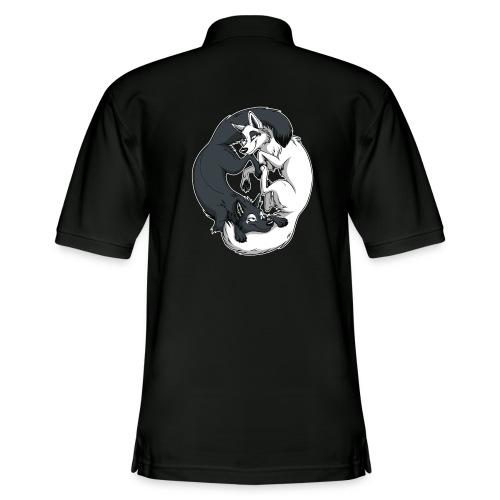 Yin Yang Foxes (white border) - Men's Pique Polo Shirt
