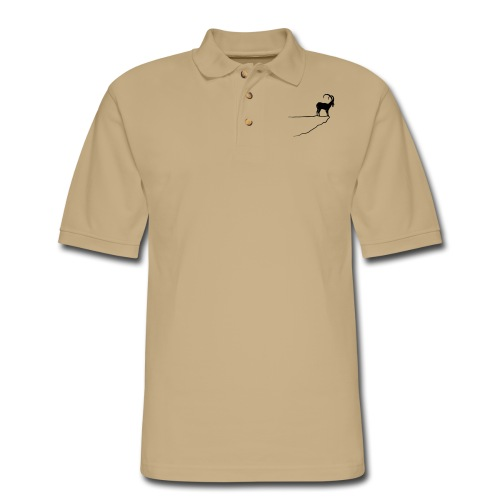 ibex capricorn mountain goat sheep rock climbing - Men's Pique Polo Shirt