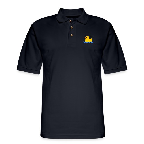 Hubs Duck - Wordmark and Water - Men's Pique Polo Shirt