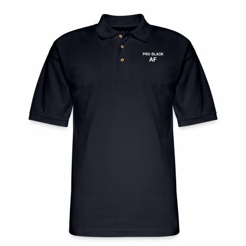 pro back af white - Men's Pique Polo Shirt