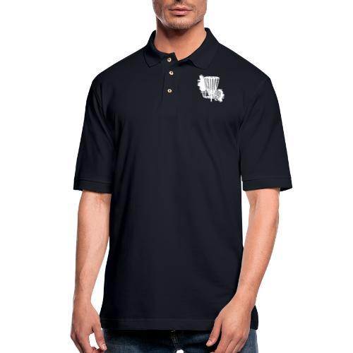 Disc Golf Basket White Print - Men's Pique Polo Shirt