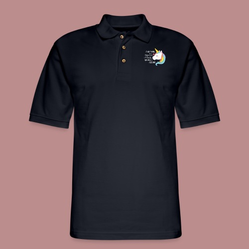 Believing in a Unicorn - White Text - Men's Pique Polo Shirt