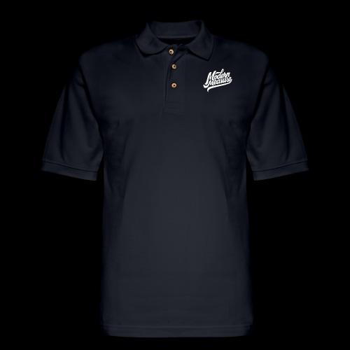 White Script Logo - Men's Pique Polo Shirt