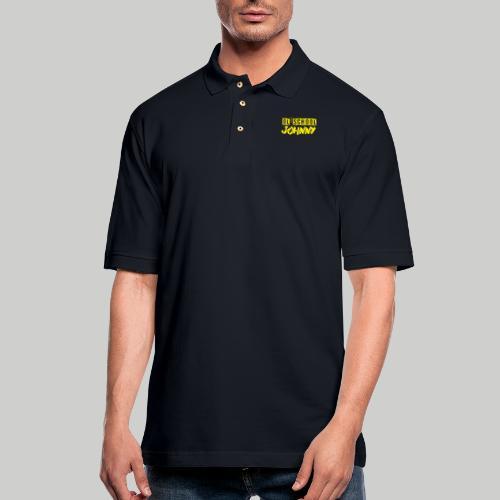 Ol' School Johnny Logo in Yellow - Men's Pique Polo Shirt