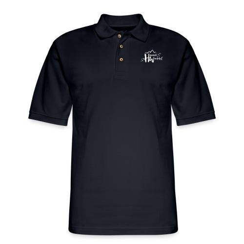 White HW Logo - Men's Pique Polo Shirt