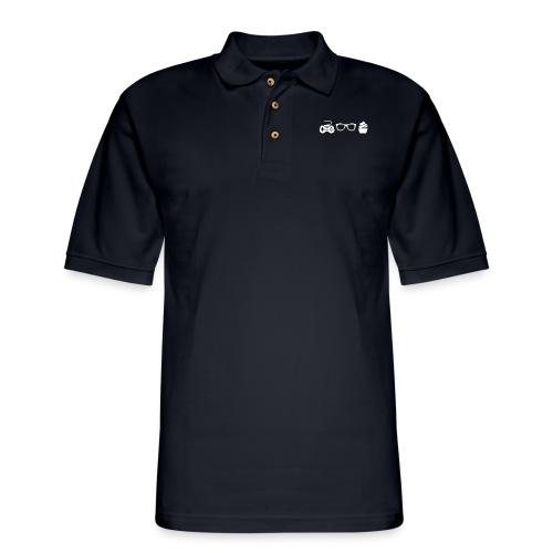 Triple G Large Logo - White - Men's Pique Polo Shirt