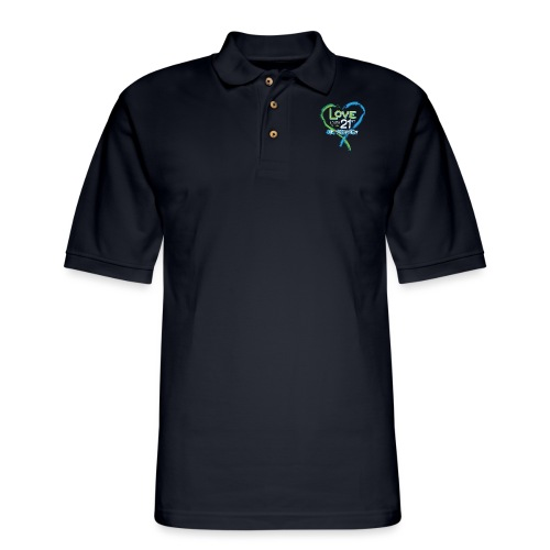 Down Syndrome Love (Blue/White) - Men's Pique Polo Shirt