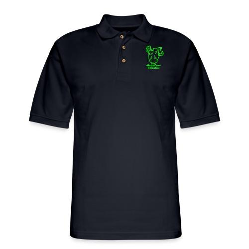 MetalCowLogo GreenOutline - Men's Pique Polo Shirt