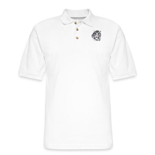 White Tiger Face - Men's Pique Polo Shirt
