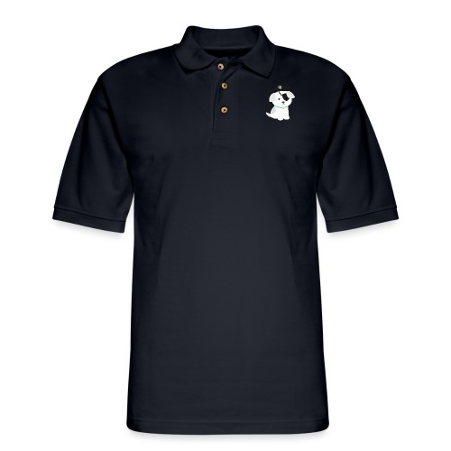 Dog with a pirate eye patch doing Vision Therapy! - Men's Pique Polo Shirt
