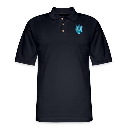 neon tryzub blue - Men's Pique Polo Shirt