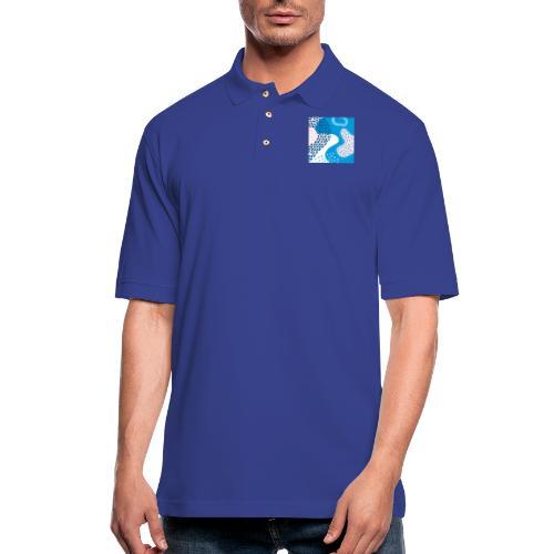 Pink & Blue Abstract - Men's Pique Polo Shirt