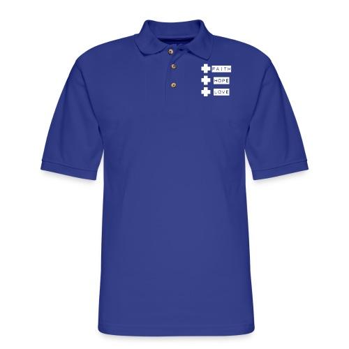 3 crosses , faith hope love - Men's Pique Polo Shirt