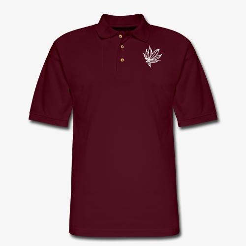 white leaf - Men's Pique Polo Shirt