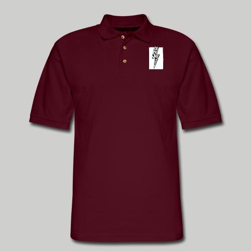 Ol' School Johnny Black and White Lightning Bolt - Men's Pique Polo Shirt