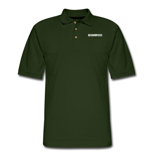 MEGAMORPHOSIS Logo White - Men's Pique Polo Shirt
