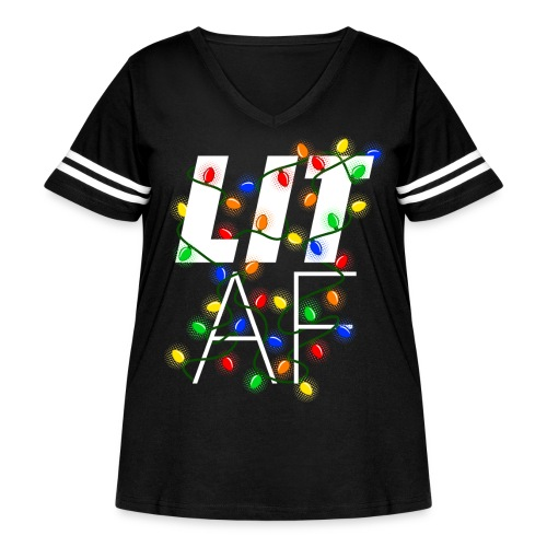 LIT AF Funny Christmas Lights Drunk Christmas - Women's Curvy Vintage Sport T-Shirt