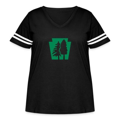 PA Keystone w/trees - Women's Curvy Vintage Sport T-Shirt