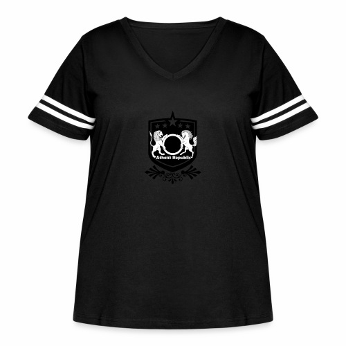 Atheist Republic Logo - Starred Badge - Women's Curvy Vintage Sport T-Shirt