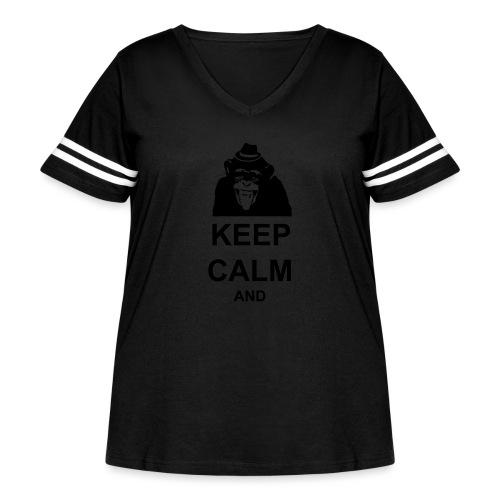 KEEP CALM MONKEY CUSTOM TEXT - Women's Curvy Vintage Sports T-Shirt