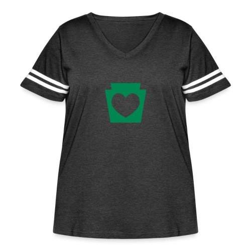 Love/Heart PA Keystone - Women's Curvy Vintage Sport T-Shirt