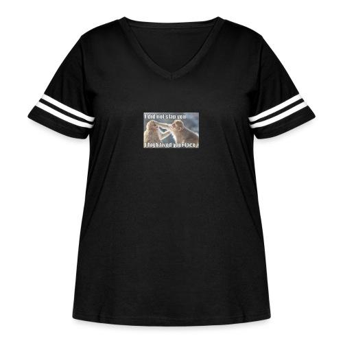 funny animal memes shirt - Women's Curvy Vintage Sport T-Shirt